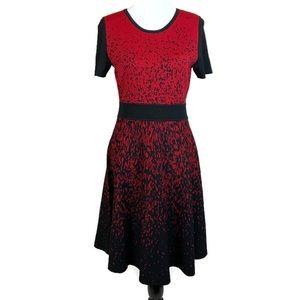 Carmen Marc Valvo Dress Fit Flare Sz Lg Red Black